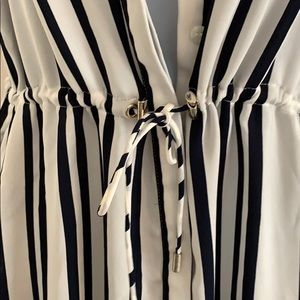 H&M Dresses - Navy blue and white striped sleeves dress